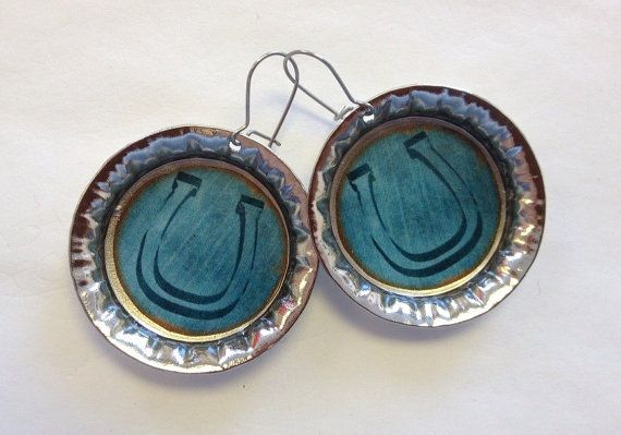 Bottle Cap Earrings Horseshoe Bottlecap teal by StarBoundWestern