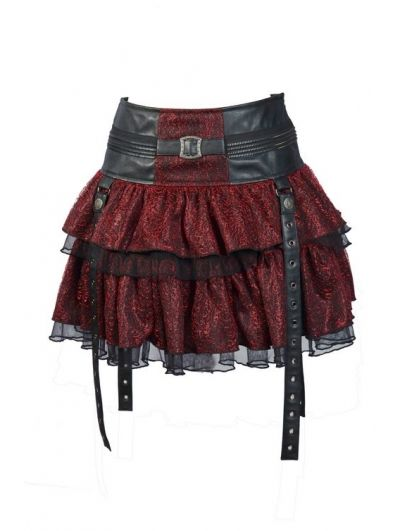 $36.20 Red Layers Short Mini Gothic Skirt