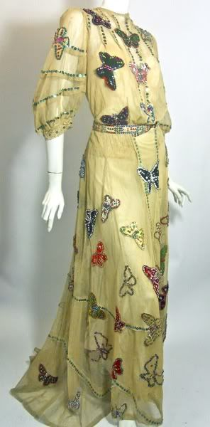 early 1900s velvet and silk sequin trimmed butterfly stage gown, Dorothea's Closet Vintage