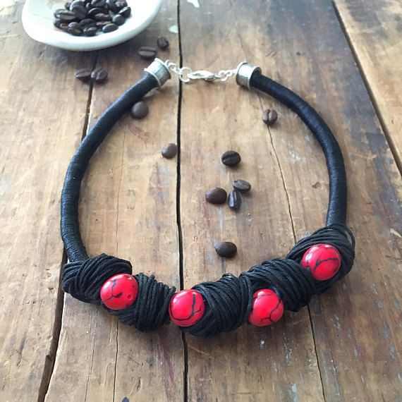 Linen Necklace Tagua Nut Necklace Boho Necklace Red Tagua