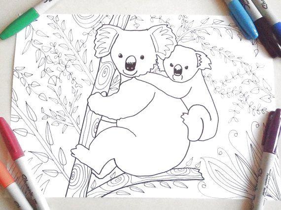 koala mom coloring puppy animal kids adult download colouring cute animal puppy mother koala zen printable print digital pet lasoffittadiste