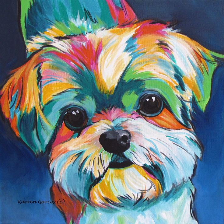 """""""Can I Have One?""""  12""""x12"""" acrylic pop art Shih Tzu pet portrait dog painting by Karren Garces. Custom orders welcome"""