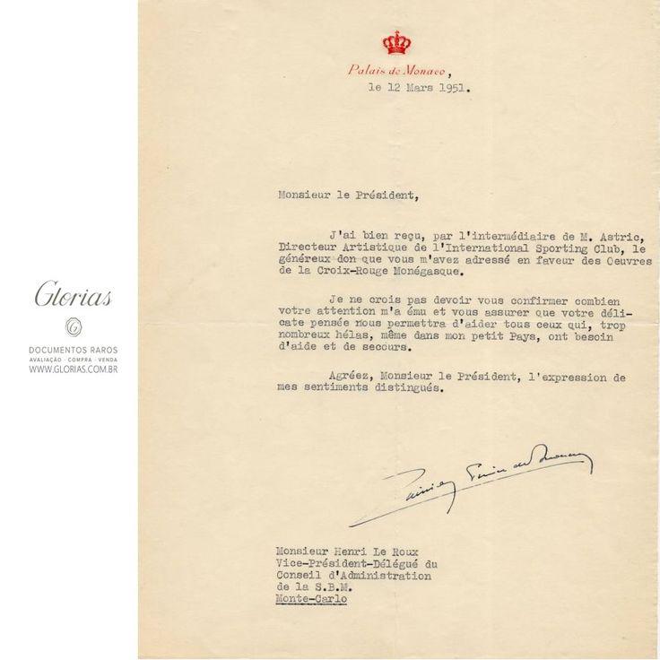 Carta assinada pelo Príncipe Rainier de Mônaco (1967)