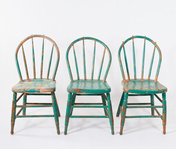 Antique Painted Wooden Spindle Chair Primitive Blue Green Bentwood