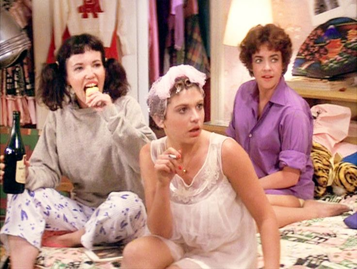 Jamie Donnelly as Jan, Dinah Manoff as Marty Maraschino and Stockard Channing as Rizzo in Grease (1978)