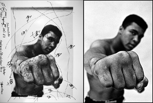 Ali - with notes by master darkroom printer Pablo Inirio of Magnum, showing how the final print was produced.