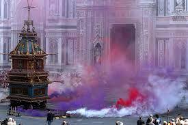 Firenze, Scoppio del Carro, Piazza del Duomo - Florence, Explosion of the Cart