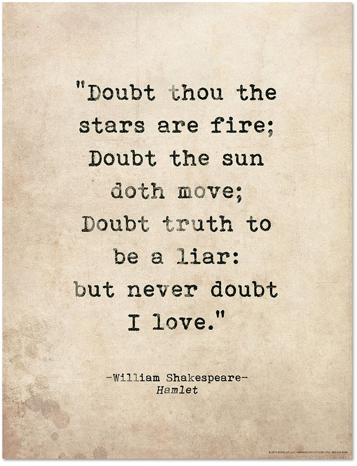 Romantic Quote Poster. Doubt Thou the Stars are Fire. Shakespeare Hamlet Literary Print For School, Library, Office or Home by EchoLiteraryArts on Etsy