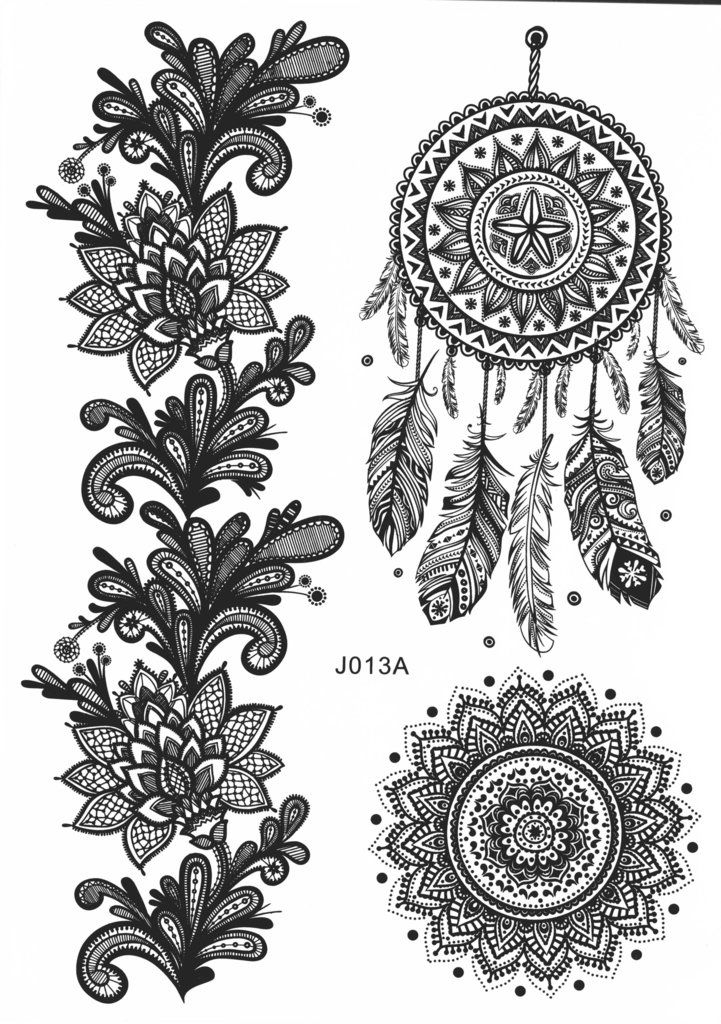 Black Henna Lace Dreamcatcher & Mandala Temporary Tattoo Sheet Set at MyBodiArt