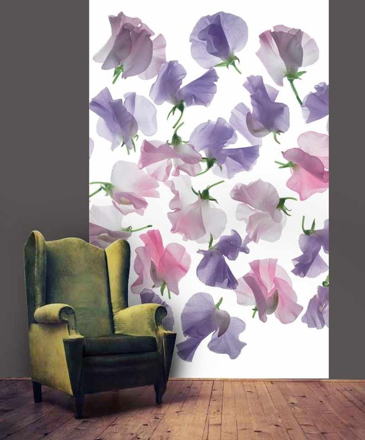 Papier peint POIS DE SENTEUR pétales de fleurs légères