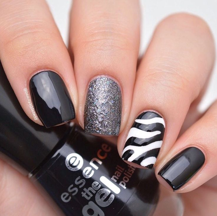 Fabulous black, white & silver zebra manicure by @beautyaddictedd using our Zebra Nail Stencils found at snailvinyls.com LAST DAY for our 20% Off Sale!