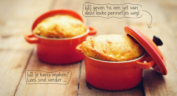Quiche met zoete aardappel, prei, kaas en ei in mini pannetjes.