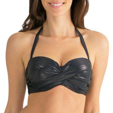 Smart & Sexy Women's Bra-Sized Twist Bandeau Bikini Swimsuit Top, Size: 36B, Silver