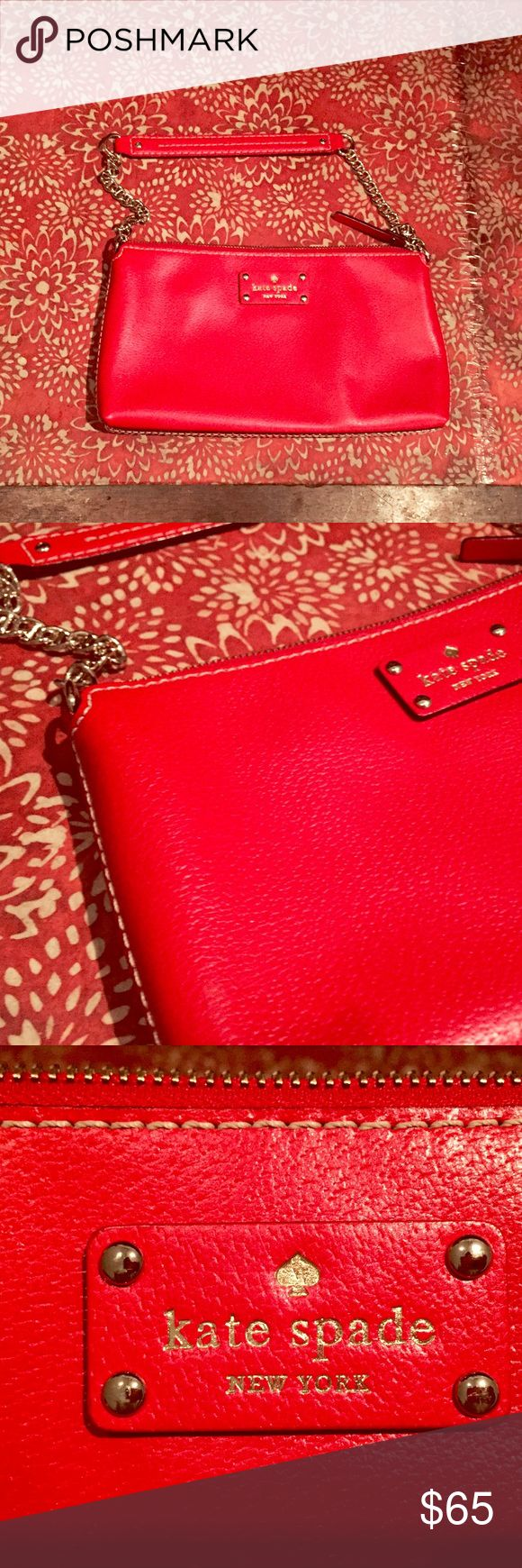 """Kate Spade Red Wellesley Shoulder Bag ❣️LIKE NEW! ❣️bright red Kate Spade shoulder bag with a silver chain and a gold polka dot interior !   just a little bigger than a wristlet but not huge -- 11"""" wide, 6"""" high, strap drop of 8.5"""". Genuine leather, and in beautiful condition: only worn once. Even comes with original dust bag!❣️ . . . . . #katespade #purse #red #designer #bag #leather kate spade Bags Shoulder Bags"""