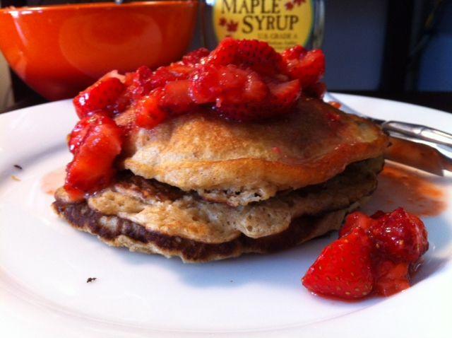 Honey Whole Wheat & Oat Pancakes with Fresh Strawberry Syrup