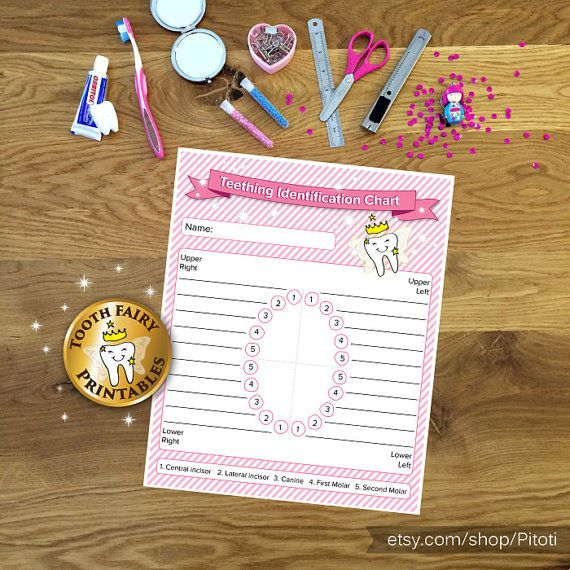 Baby Teething Identification Chart, Printable Teething Chart, Tooth fairy, tooth recoeds, tooth tracker for baby girl, Instant download