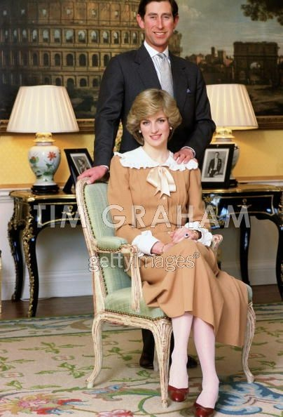 February 1, 1983: Prince Charles & Princess Diana in an official photo taken at Kensington Palace to mark their forthcoming visit to Australia and New Zealand
