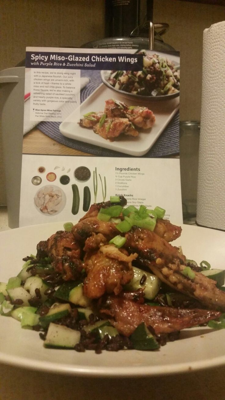 Blue apron zucchini rice - Spicy Miso Glazed Chicken Wings With Purple Rice And Zucchini Salad Kisha S Blue Apron Sensations Pinterest Rice Wings And Zucchini