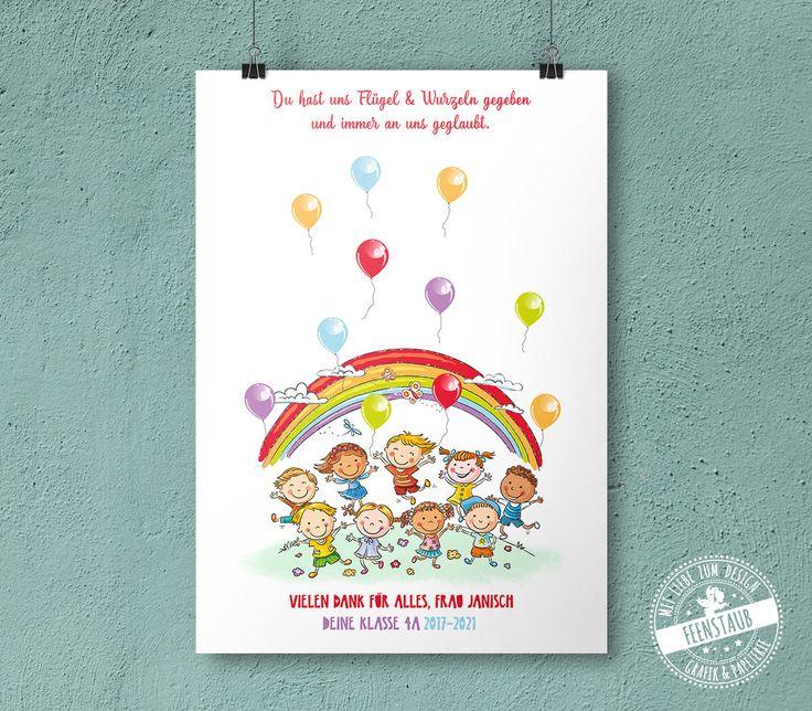 Abschiedsgeschenk für Kindergarten Fingerabdruckbild für