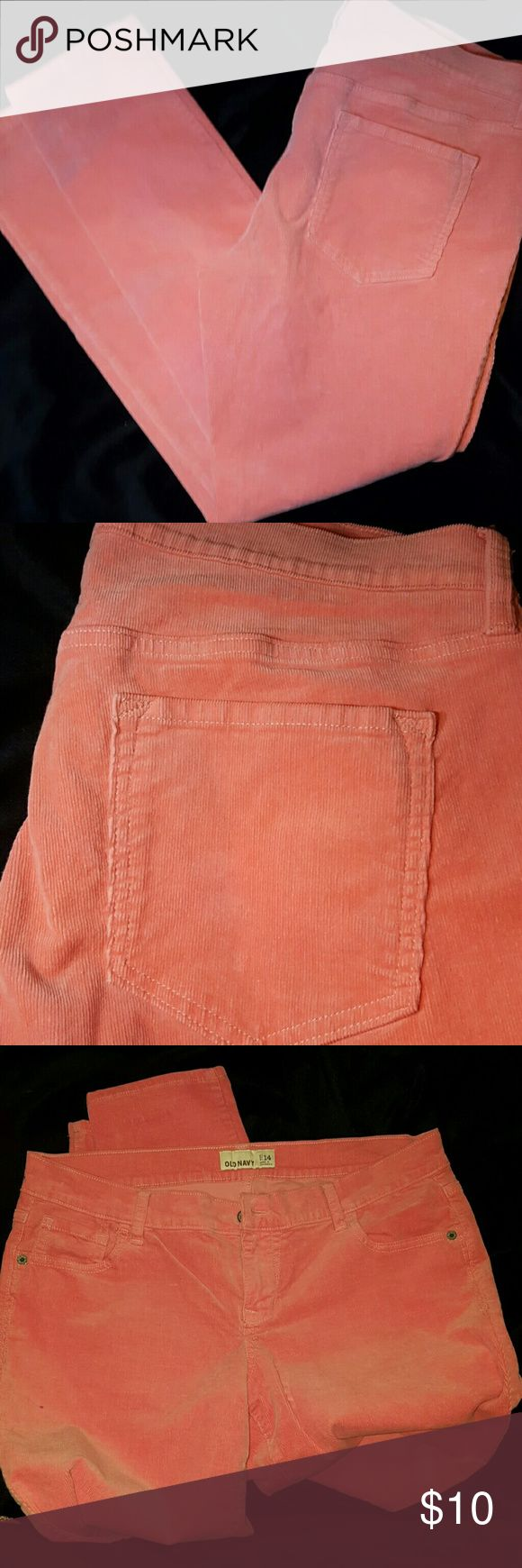 Old Navy Salmon pink Corduroy pants Great condition with one tiny imperfection as shown in last pic.  I wore them once so not even sure how it got the nic. It's not a hole just an imperfection in the corduroy fabric.  Very comfy and gorgeous salmon pink color.  Smoke free home Old Navy Pants Skinny