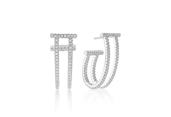 Earrings Fucino Lungo with white zirconia!