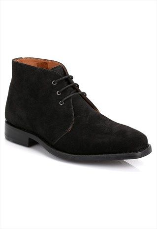 J.G. HARRISONS MENS BLACK GOODYEAR WELTED SUEDE CHUKKA BOOTS