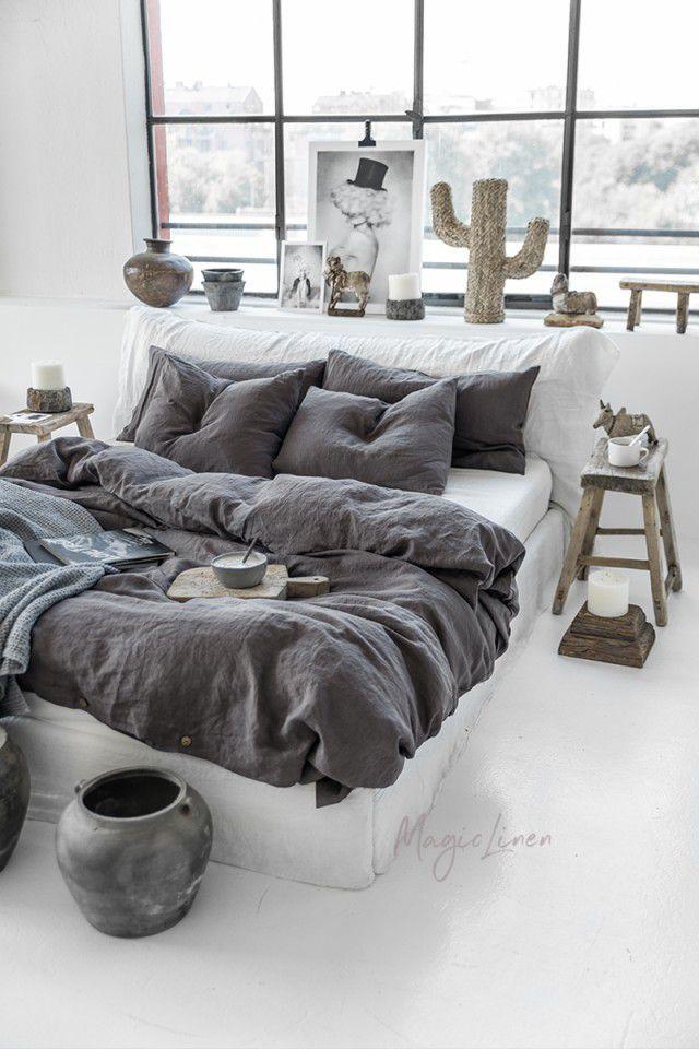 Dark Grey Linen Duvet Cover In 2021 Bed Linen Sets Bed Linens Luxury Bedding Set