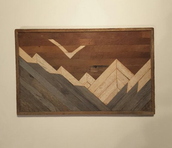 Reclaimed Wood Wall Art Layered Mountains Decor By