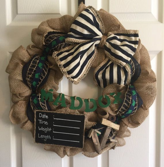 Nautical Wreath, Personalized Hospital Door Wreath for baby boys, Baby Stats Plaque Wreath