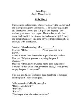 Role play scripts are a great tool to use with social skills groups.  I use these scripts to help students handle anger and difficult situations.  These scripts contain scene, dialog, self-talk strategies, and assertive statement.
