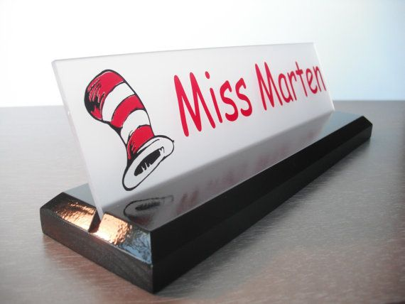 Teacher Name Plate Dr. Seuss Personalized Wood Desk by GaroSigns, $24.99