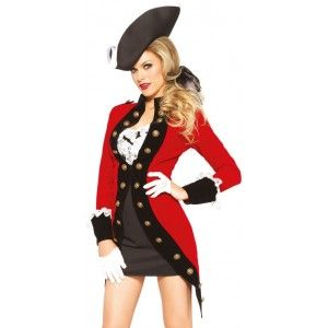 Rebel Red Coat Womens Pirate Costume Our Price $55.00  4 piece costume set includes the Rebel Red Coat dress with lace ruffle bodice the overcoat with oversized button detail and back bow. It comes with the ribbon hair tie and tri-corn pirate hat.  Other items shown sold separately.  #cosplay #costumes #halloween