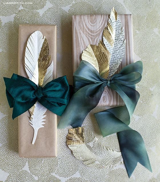 Paper Feather Gift Toppers