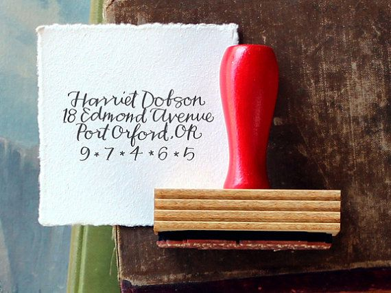 This address stamp is perfect for stamping your return address on envelopes, letters, books, and luggage tags. A classic for the home office. graphic is