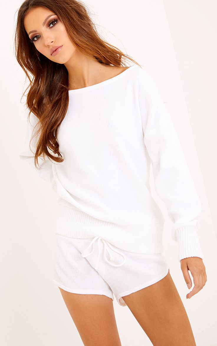 White Short and Jumper Knitted Lounge SetGirl lounge like the queen you are in this super soft kn...