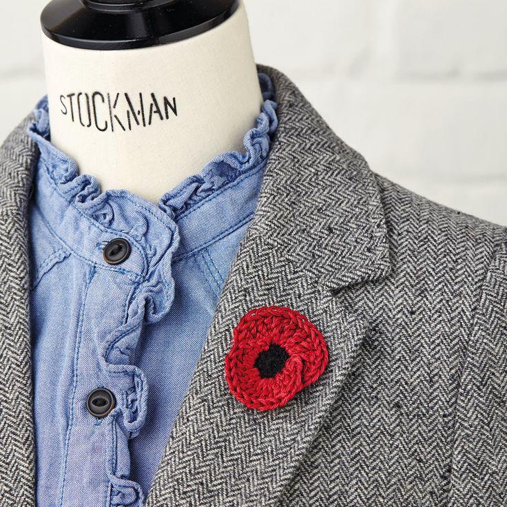 Crochet poppy brooch - to make for fundraising with London Landmarks Half Marathon. Raising funds for The Royal British Legion