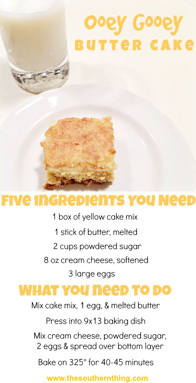 Five Ingredient Ooey Gooey Butter Cake Recipe http://www.thesouthernthing.com/2014/07/five-ingredient-ooey-gooey-butter-cake.html