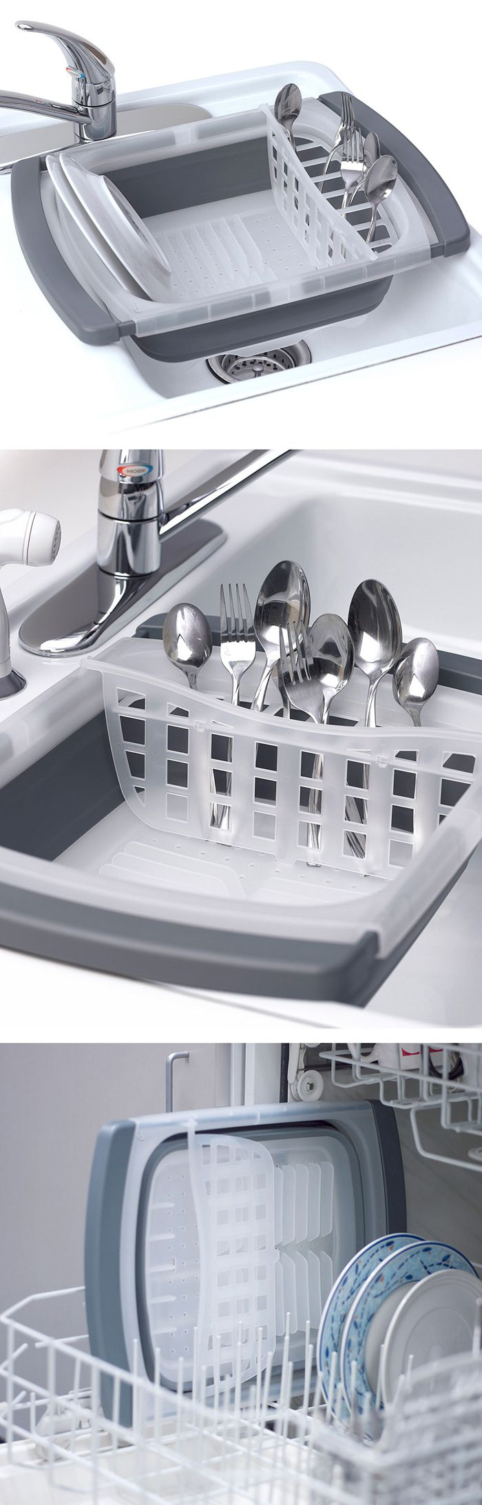 Collapsible Over-the-Sink Dish Drainer // saves space, dishwasher safe - clever!