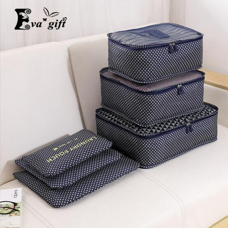 Household portable box waterproof clothes organizer storage box underwear bra packing makeup cosmetic cloth storage 6 Pcs/ set