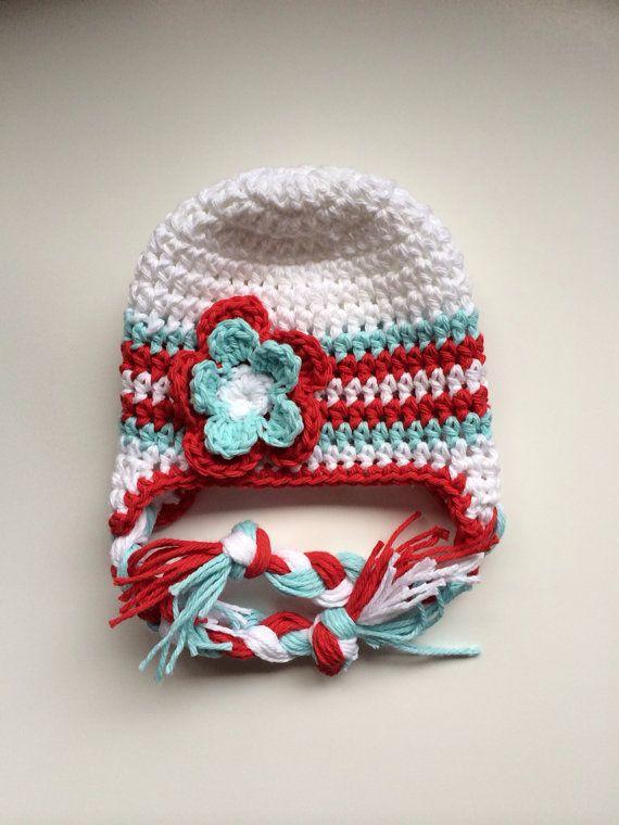 Baby girl winter hat crochet earflap hat girls by MRocheCrochet, $21.00