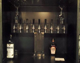 Double Service 2 sided 24 Tap Reclaimed wood and iron wrapped beer tower Island Bar Beer Wine