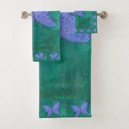Passionate Bath | Butterfly Purple Blue Green | Bath Towel Set - girly gifts girls gift ideas unique special