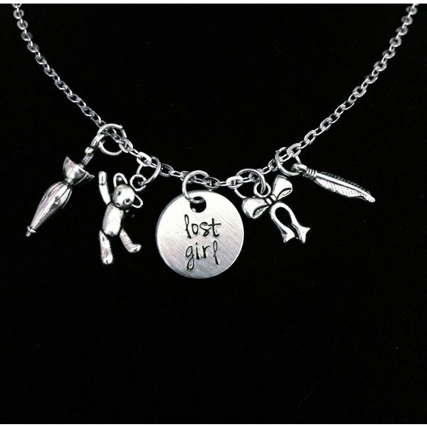 Lost Girl Peter Pan Neverland Inspired Charm Necklace ($23) ❤ liked on Polyvore featuring jewelry, necklaces, silver charms jewelry, silver necklace, round silver necklace, charm necklace and silver jewellery