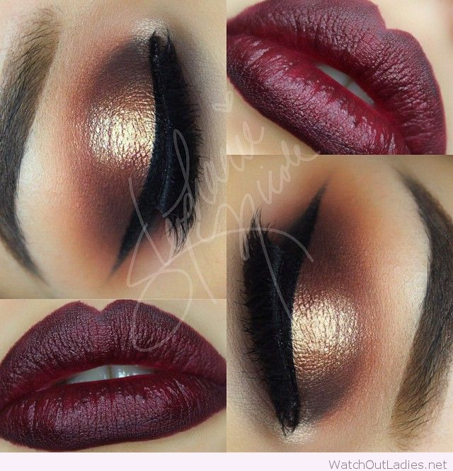 Burgundy lips and gold eye makeup for Christmas
