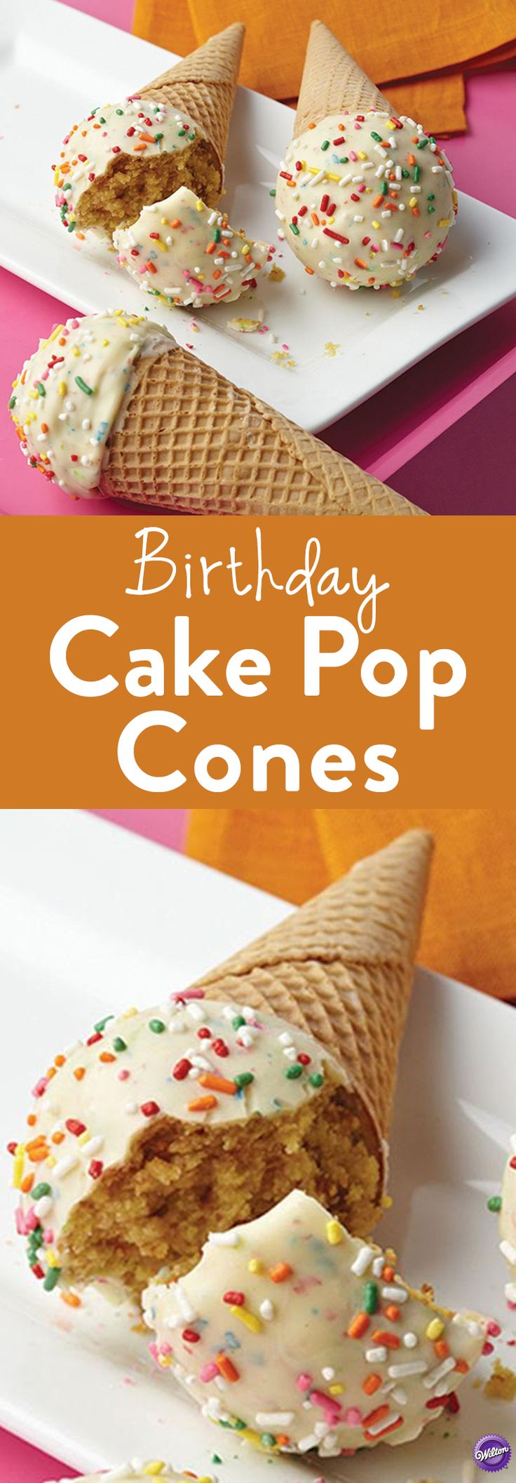 How to Make Cake Pop Cones - Roll cake mixture into a ball and insert inside the sugar cone coated with Candy Melts candy. Add sprinkles. Your guests will love the sweet surprise inside this birthday cake pop cone.