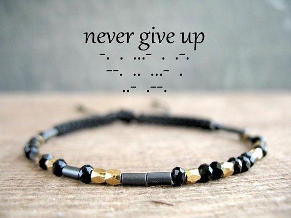 NEVER GIVE UP black affirmation bracelet meaning quote