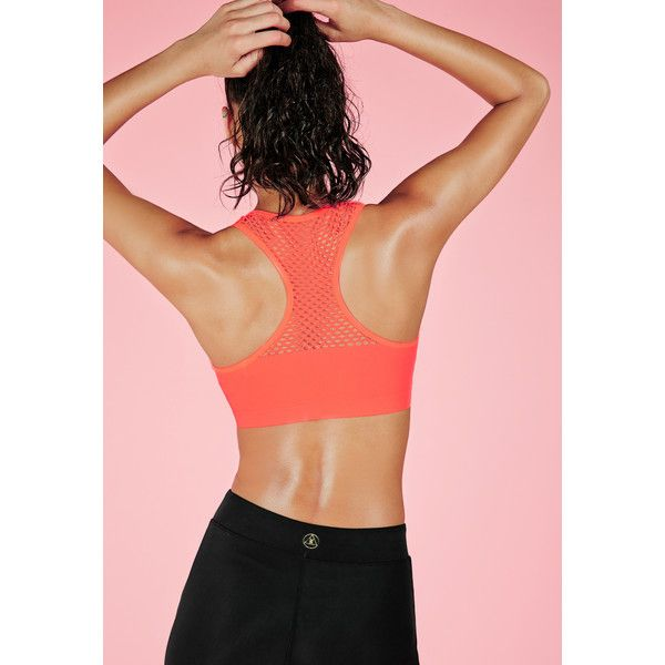 Missguided Active Air Tex Back Detail Sports Bra Coral ($20) ❤ liked on Polyvore featuring activewear, sports bras, orange, racerback sports bra, orange sports bra, red sports bra and racer back sports bra