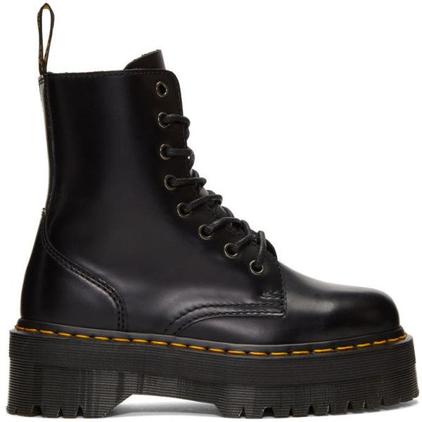 Dr. Martens Black Jadon Boots ($175) ❤ liked on Polyvore featuring shoes, boots, black, kohl boots, zip boots, round toe boots, platform boots and platform shoes