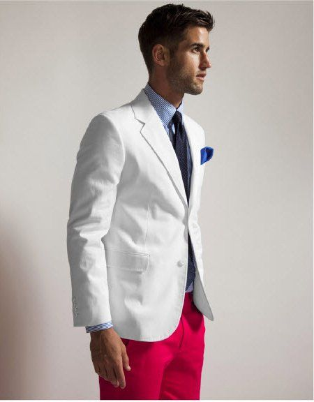 Men Clothing, Summer Suits, White Blazers, Summer Style, Pink Pants, White Jackets, Men Fashion, Gentleman Style, Red Pants