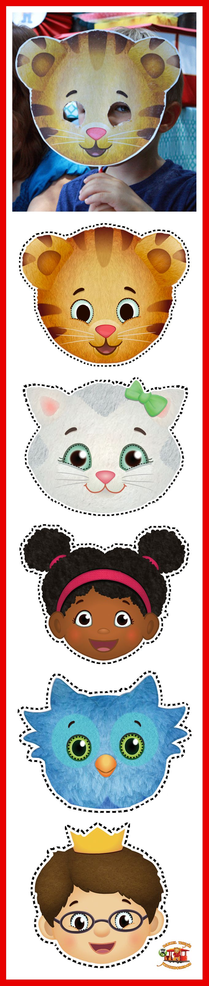 Daniel Tiger's Neighborhood face cut outs.   Daniel Tiger's Neighborhood Live! coming to Columbus, Ohio
